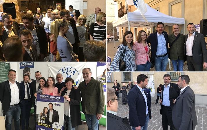 Chiusura di campagna elettorale nel Lodigiano con Calderoli, Gancia e Giorgetti