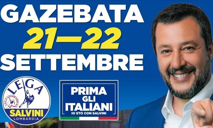 Gazebata nel Lodigiano a sostegno di Matteo Salvini