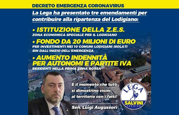 Coronavirus: Lega, Pd-5S accolgano le nostre richieste per il Lodigiano