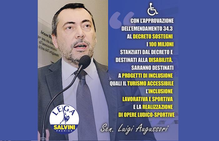 Dl Sostegni, Augussori (Lega): con nostra proposta 100 milioni per disabilità