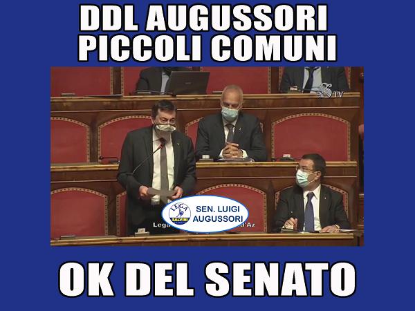 DDL piccoli Comuni, intervento in aula del senatore Augussori