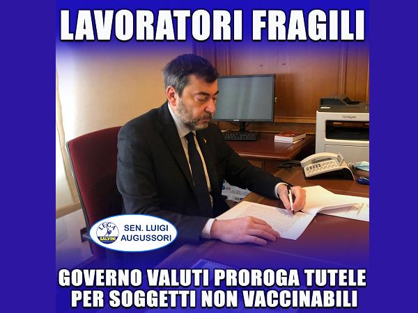 Covid, Augussori (Lega): tutelare sicurezza e salute lavoratori fragili